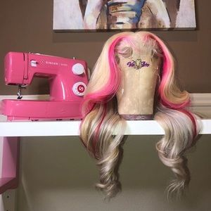 "18"" frontal wig blonde 613 & custom pink"